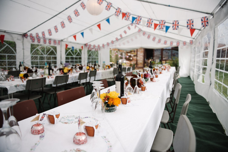 Wartime Union Jack Bunting Afternoon Tea Homemade Street Party Back Garden Wedding http://www.foxmoonphotography.com/