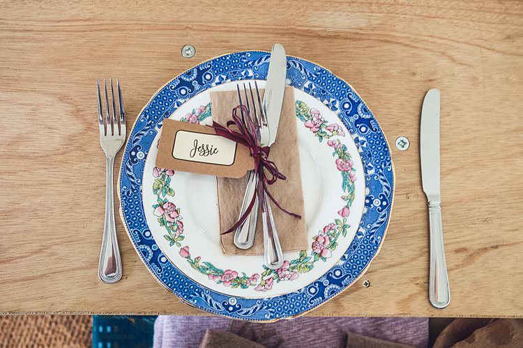 Table Setting Vintage Mismatched Crockery Luggage Table Place Card Ribbon Indie Back Garden Bespoke Party Wedding https://www.babbphoto.com/