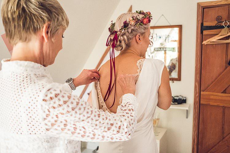 Bride Bridal Flower Crown Ribbon Backless Silk Dress Gown Lace Insert Indie Back Garden Bespoke Party Wedding https://www.babbphoto.com/