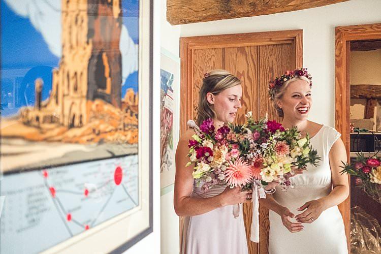 Bride Bridal Dress Gown Silk Ghost Bridesmaid Bouquet Flower Crown Floral Indie Back Garden Bespoke Party Wedding https://www.babbphoto.com/