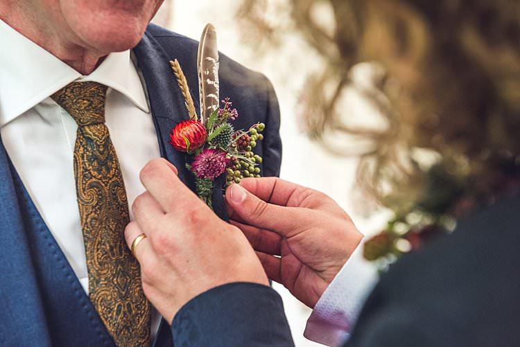 Groom Style Buttonhole Wheat Feather Wax Flower Paisley Tie Indie Back Garden Bespoke Party Wedding https://www.babbphoto.com/