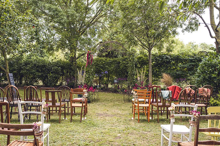 Rustic Vintage Wooden Chairs Outdoor Ceremony Floral Flowers Indie Back Garden Bespoke Party Wedding https://www.babbphoto.com/