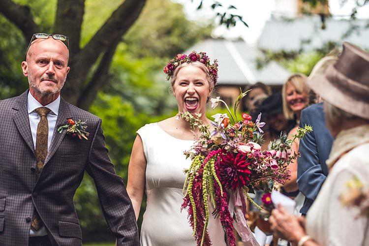Bride Bridal Dress Gown Ghost Bias Flower Floral Crown Bouquet Ribbon Pink Indie Back Garden Bespoke Party Wedding https://www.babbphoto.com/