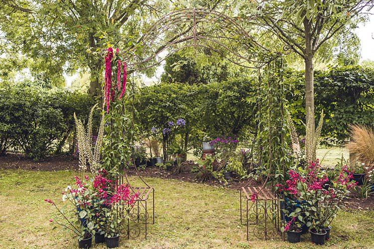 Outdoor Ceremony Structure Floral Flowers Indie Back Garden Bespoke Party Wedding https://www.babbphoto.com/