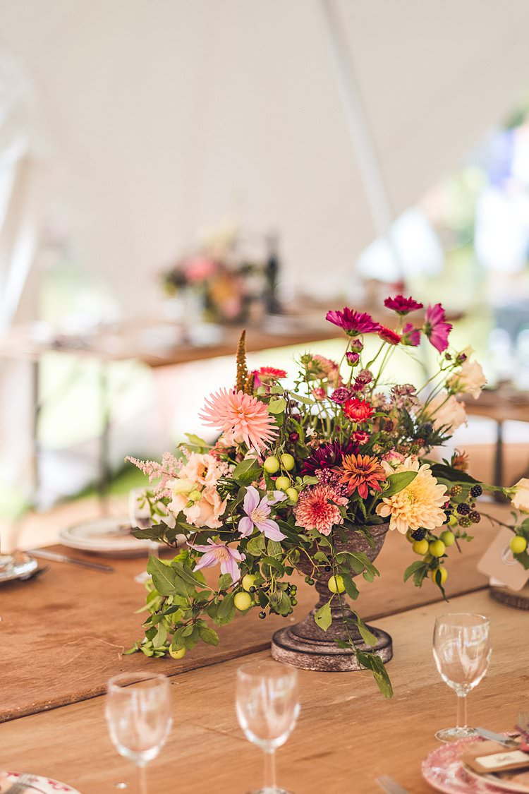 Table Centre Floral Flowers Multicolour Wild Indie Back Garden Bespoke Party Wedding https://www.babbphoto.com/