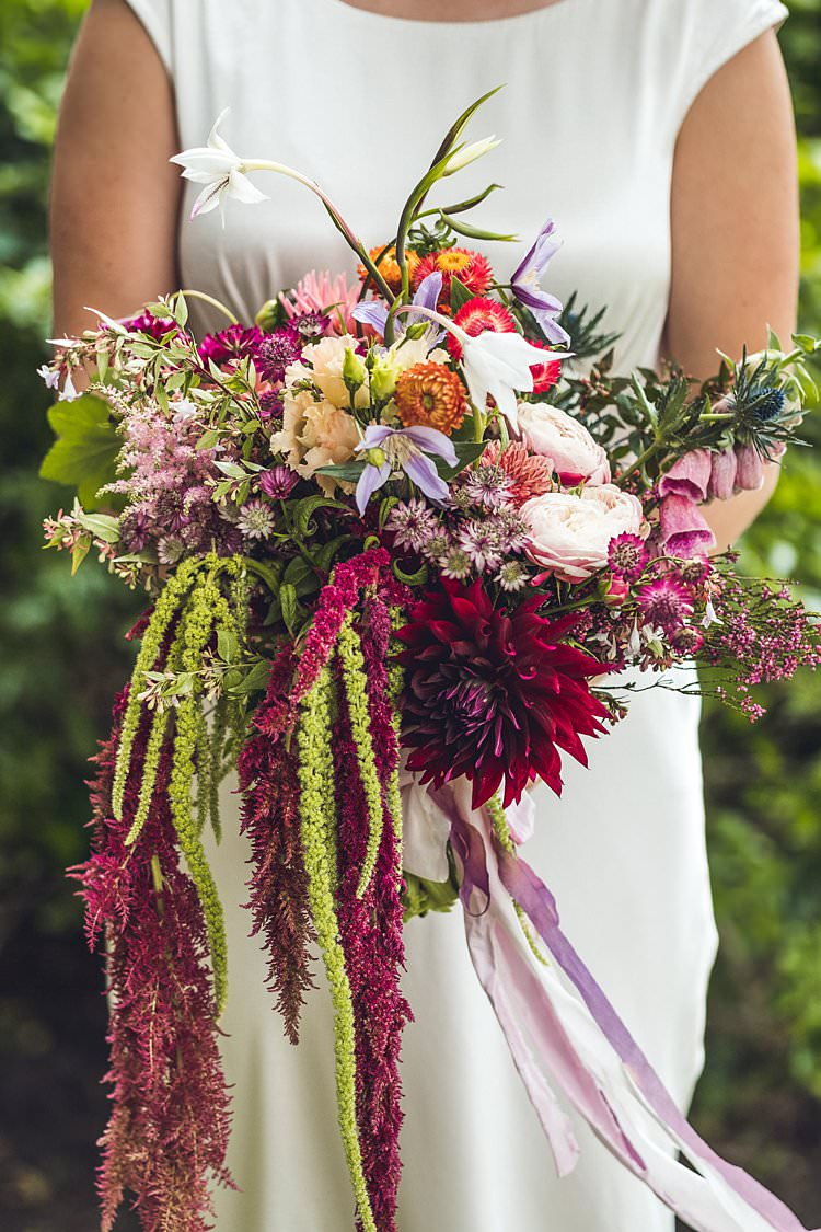 Bride Bridal Bouquet Ribbon Foxglove Thistle Dahlia Indie Back Garden Bespoke Party Wedding https://www.babbphoto.com/