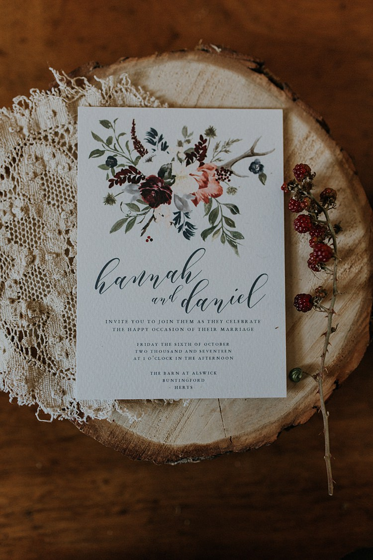Stationery Invite Invitations Calligraphy Floral Banquets Bonfires Autumn Wedding Ideas https://lolarosephotography.com/