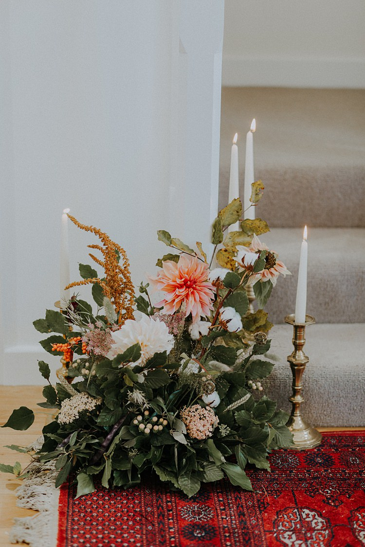 Flower Arrangement Dahlias Banquets Bonfires Autumn Wedding Ideas https://lolarosephotography.com/