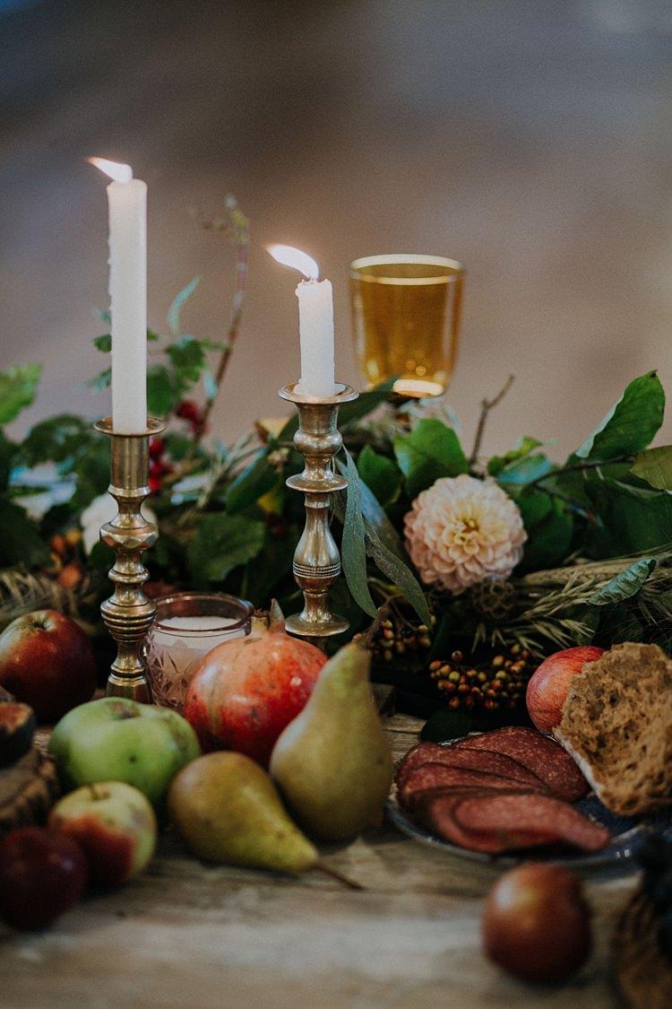 Table Tablescape Decoration Flowers Vegetables Fruit Pumpkins Candles Banquets Bonfires Autumn Wedding Ideas https://lolarosephotography.com/
