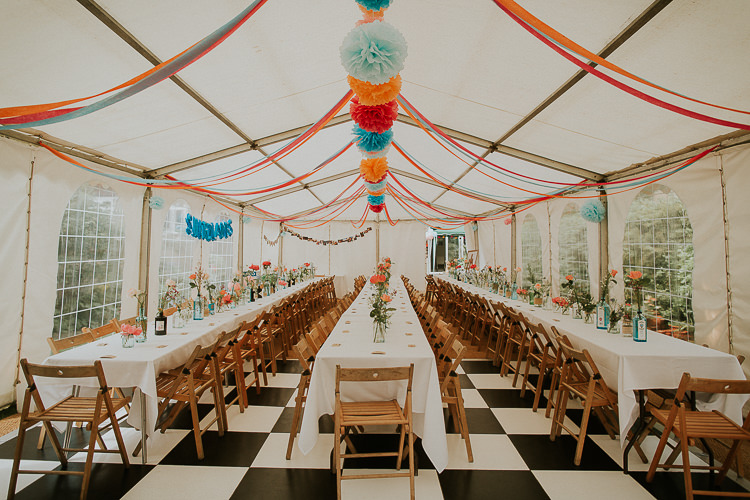 Pom Pom Streamers Flowers Marquee Reception Bright Colourful DIY Back Garden Wedding http://jonnymp.com/