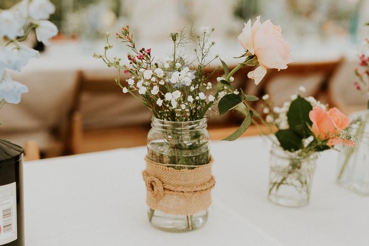 Hessian Burlap Jar Flowers Bright Colourful DIY Back Garden Wedding http://jonnymp.com/