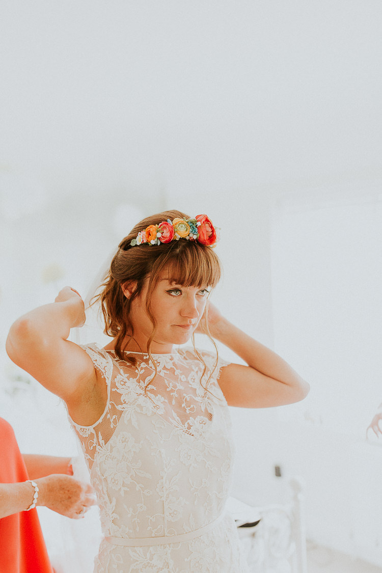 Flower Crown Bride Bridal Fringe Hair Veil Bright Colourful DIY Back Garden Wedding http://jonnymp.com/