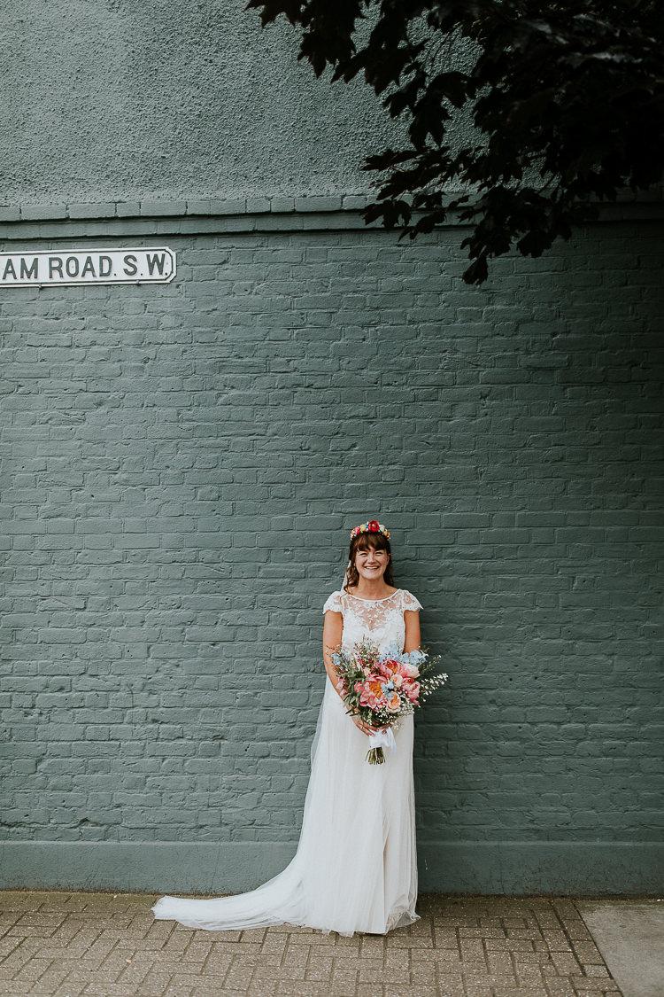 Iris Halfpenny London Lace Dress Gown Bride Bridal Veil Bright Colourful DIY Back Garden Wedding http://jonnymp.com/