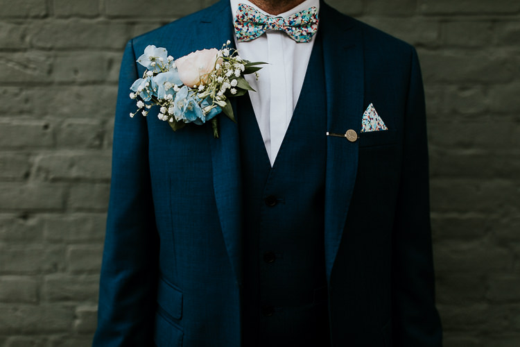Bow Tie Buttonhole Groom Blue White Bright Colourful DIY Back Garden Wedding http://jonnymp.com/