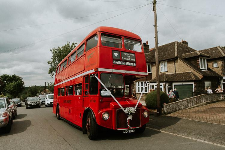Double Decker Bus Transport Bright Colourful DIY Back Garden Wedding http://jonnymp.com/