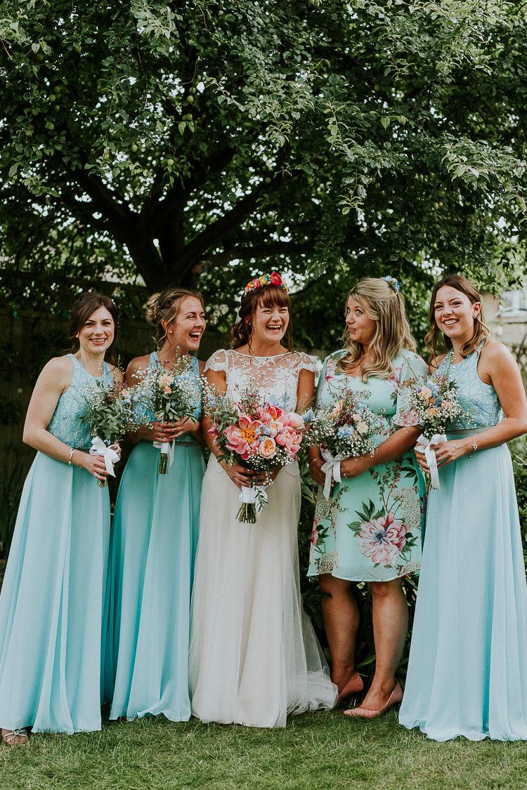 Aqua Blue Turquoise Bridesmaid Dresses Dress Bright Colourful DIY Back Garden Wedding http://jonnymp.com/