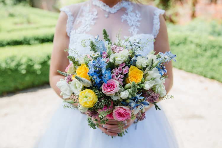 Bride Bridal Bouquet Wildflower Multicolour Lace High Neck Dress Gown Relaxed Fun Beach DIY Wedding http://www.michellehuggleston.com/