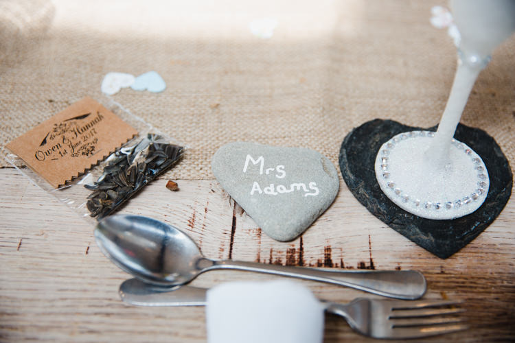 Table Place Setting Pebble Name Card Slate Favour Reclaimed Wood Relaxed Fun Beach DIY Wedding http://www.michellehuggleston.com/