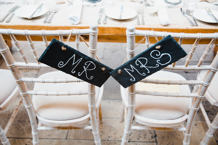 Slate Mr & Mrs Chair Sign Relaxed Fun Beach DIY Wedding http://www.michellehuggleston.com/