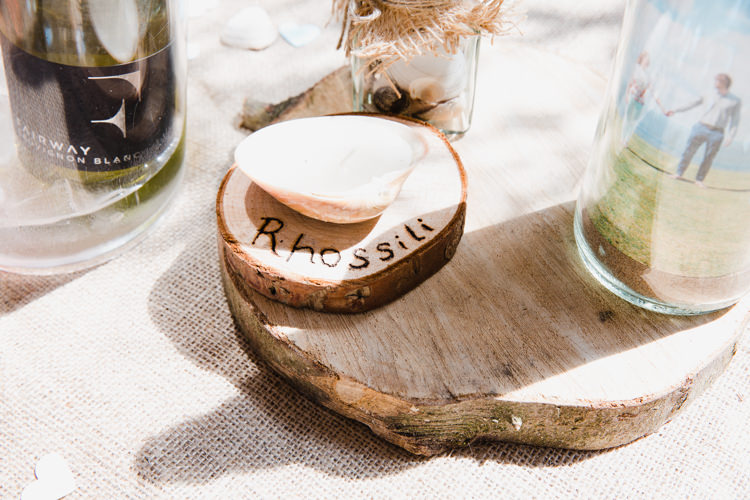 Table Name Wood Slice Tree Centre Relaxed Fun Beach DIY Wedding http://www.michellehuggleston.com/
