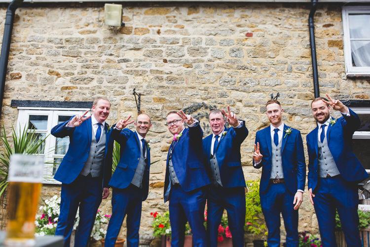 Groom Groomsmen Blue Suits Waistcoats Grey Rainbow Farm Creative Wedding http://www.livvy-hukins.co.uk/