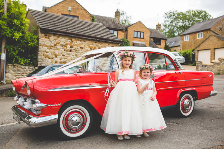 Vintage Red Car Flower Girls Rainbow Farm Creative Wedding http://www.livvy-hukins.co.uk/