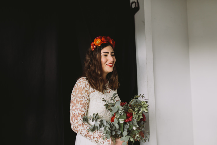 Bride Bridal Dress Gown Lace Long Sleeve Sweetheart Bouquet Red Burgundy Rose Greenery Eucalyptus Flower Crown Alternative London Warehouse Wedding https://www.lukehayden.co.uk/