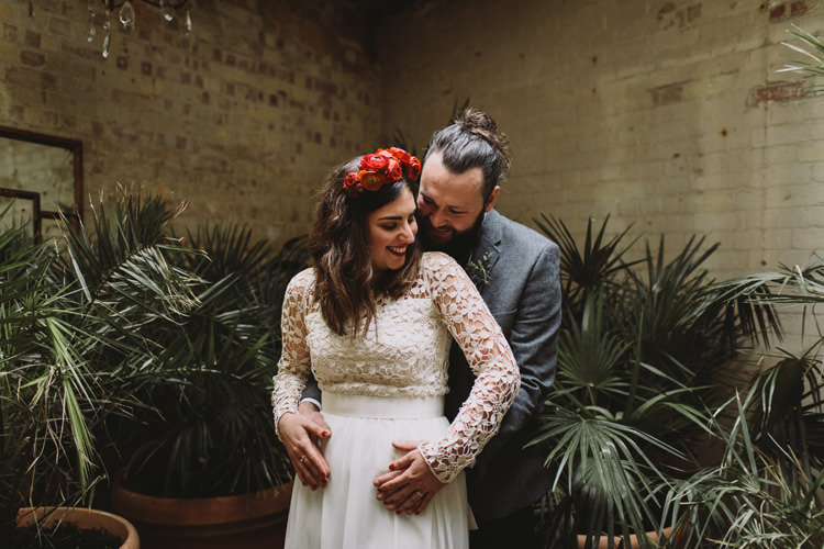 Bride Bridal Dress Gown Lace Long Sleeve Sweetheart Flower Crown Red Burgundy Rose Grey Tweed Groom Alternative London Warehouse Wedding https://www.lukehayden.co.uk/