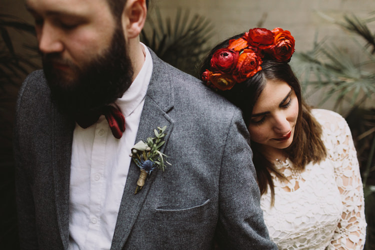 Bride Bridal Dress Gown Lace Long Sleeve Sweetheart Red Burgundy Rose Flower Crown Grey Tweed Groom Bow Tie Alternative London Warehouse Wedding https://www.lukehayden.co.uk/