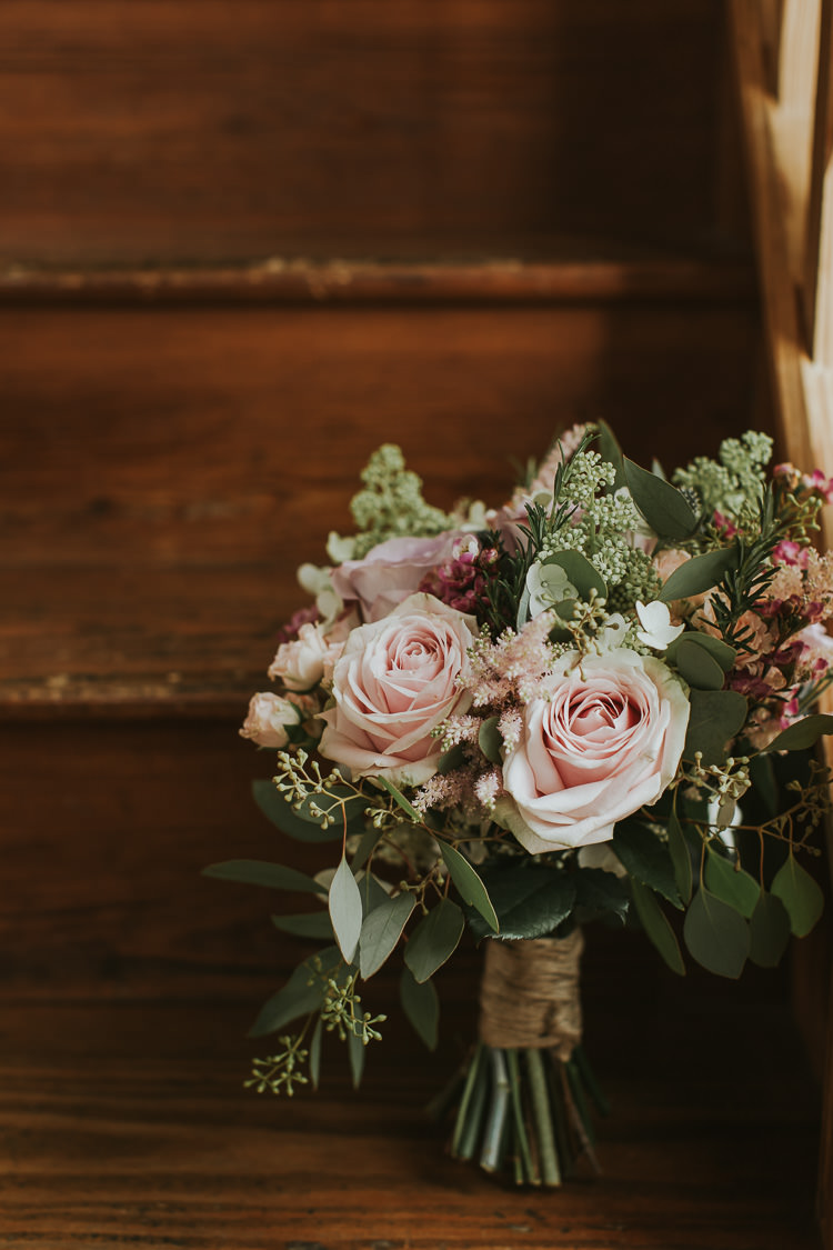 Bouquet Flowers Bride Bridal Pink Rose Foliage Sperry Tent Marquee Farm Wedding http://www.paulunderhill.com/