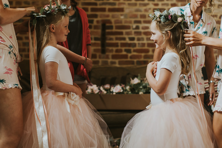 Flower Girls Tulle Skirts Tutus Ribbons Crowns Sperry Tent Marquee Farm Wedding http://www.paulunderhill.com/