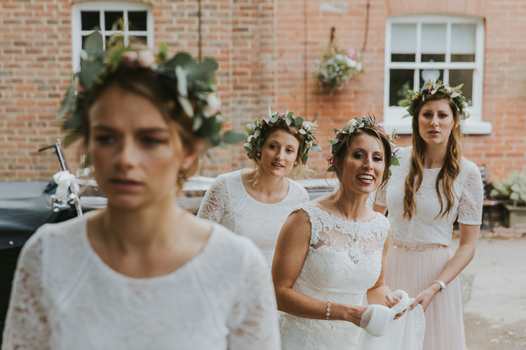 Flower Crowns Bride Bridesmaids Sperry Tent Marquee Farm Wedding http://www.paulunderhill.com/