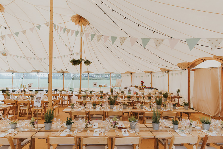 Long Rustic Tables Chairs Sperry Tent Marquee Farm Wedding http://www.paulunderhill.com/
