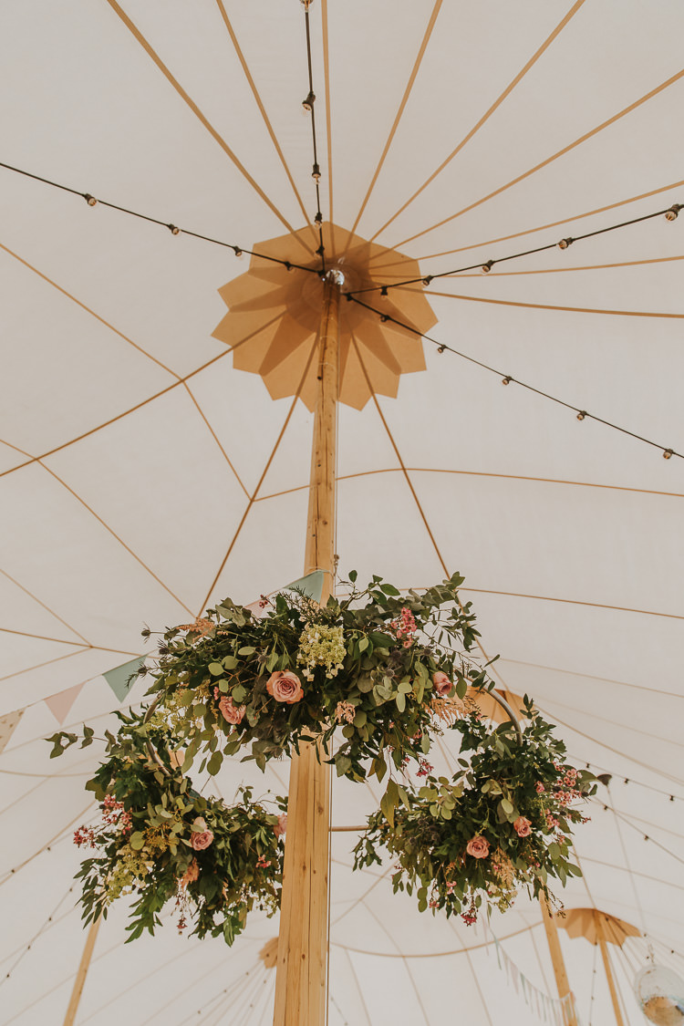 Hanging Flower Installation Ceiling Sperry Tent Marquee Farm Wedding http://www.paulunderhill.com/