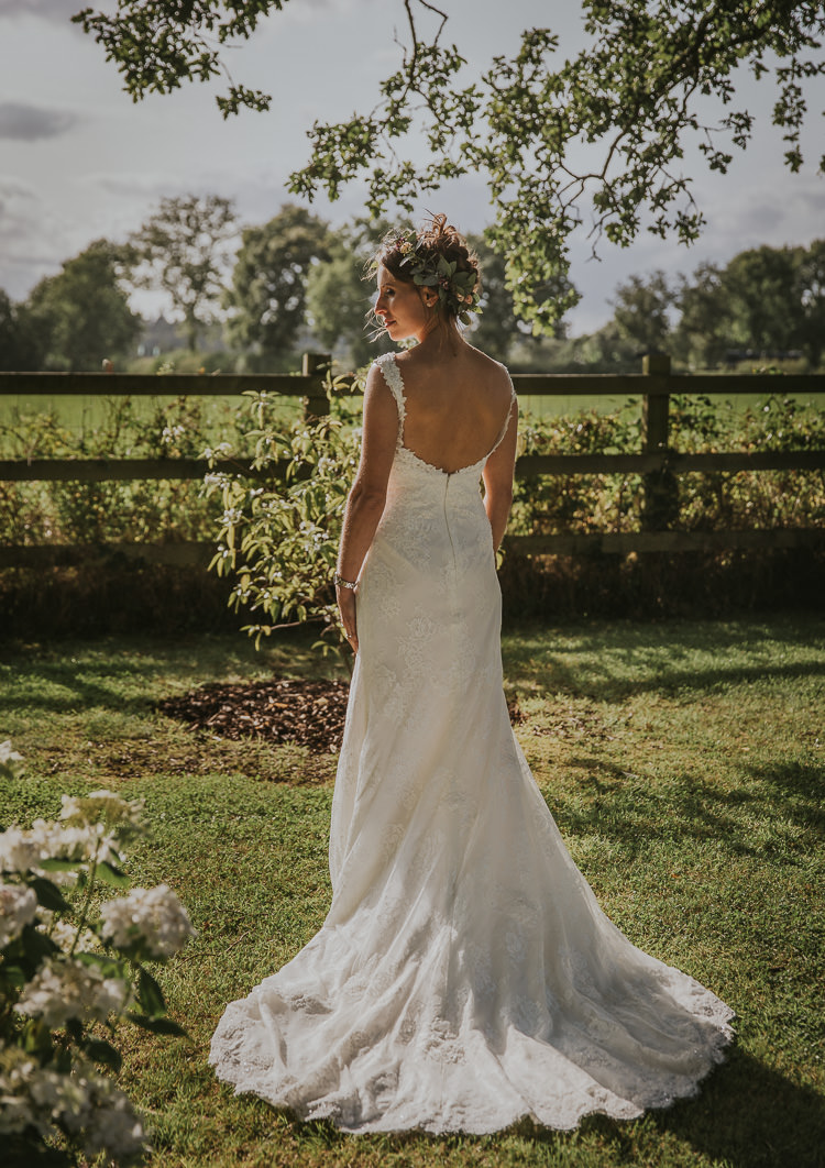 Lace Dress Gown Train Low Back Bride Bridal Sperry Tent Marquee Farm Wedding http://www.paulunderhill.com/