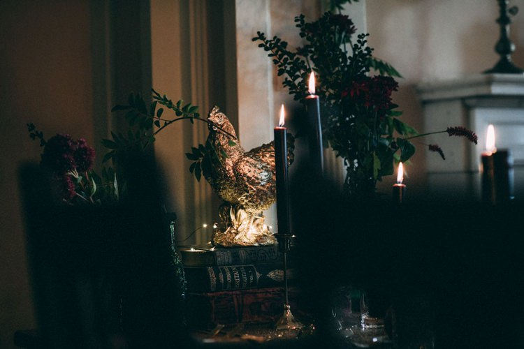 Dark Black Candles Candlesticks Gold Animal Opulent Eccentric Berry Gold Wedding https://mattaustinimages.co.uk/