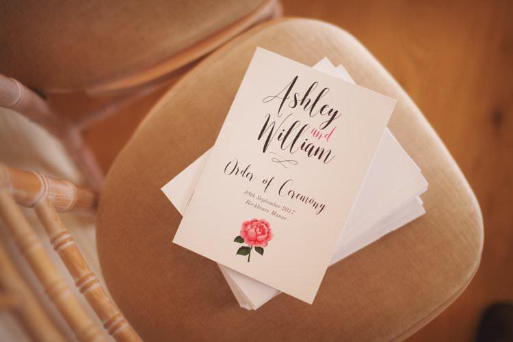 Order of Ceremony Modern Calligraphy English Rose Elegant DIY Country Manor Wedding http://www.bengoode.com/