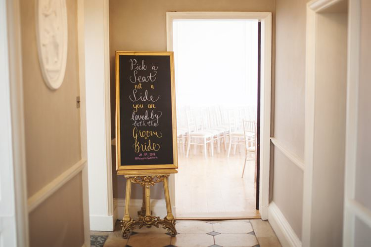 Pick a Seat Not a Side Blackboard Gold Frame Elegant DIY Country Manor Wedding http://www.bengoode.com/