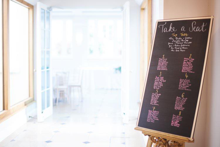 Blackboard Table Plan Seating Chart Gold Frame Easel Elegant DIY Country Manor Wedding http://www.bengoode.com/