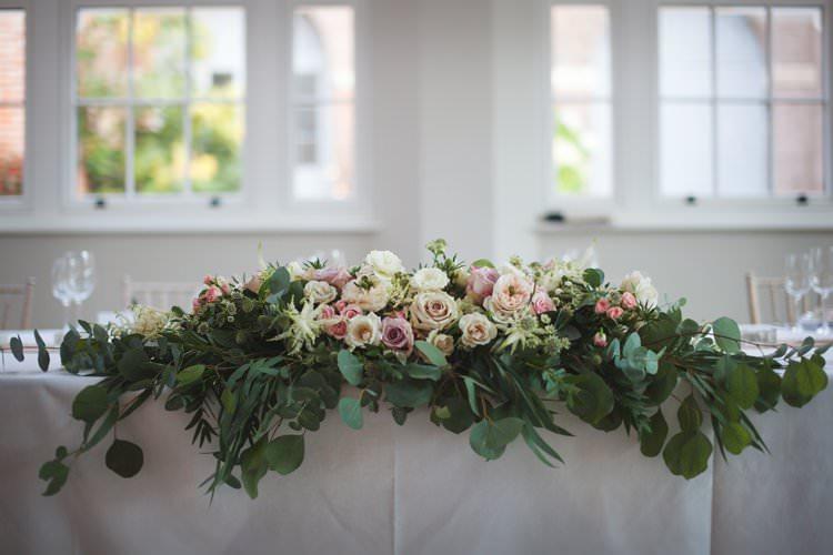 Top Table Runner Rose Pink Pastel Foliage Floral Flowers Elegant DIY Country Manor Wedding http://www.bengoode.com/