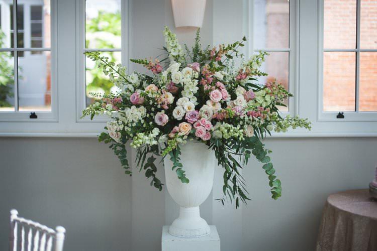 Pedestal Urn Floral Arrangement Flowers Pastel Cream Elegant DIY Country Manor Wedding http://www.bengoode.com/