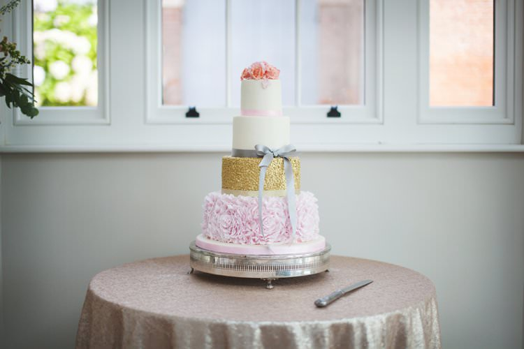Cake Table Sequin Shimmery Table Cloth Sparkly Cake Tiered Gold Pink Elegant DIY Country Manor Wedding http://www.bengoode.com/