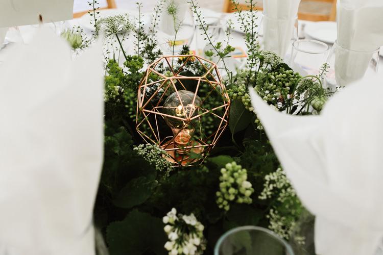 Table Centrepiece Decor Rose Gold Light Blub Greenery Flowers Fun Town Hall Countryside Gardens Cat Wedding http://www.allymphotography.com/