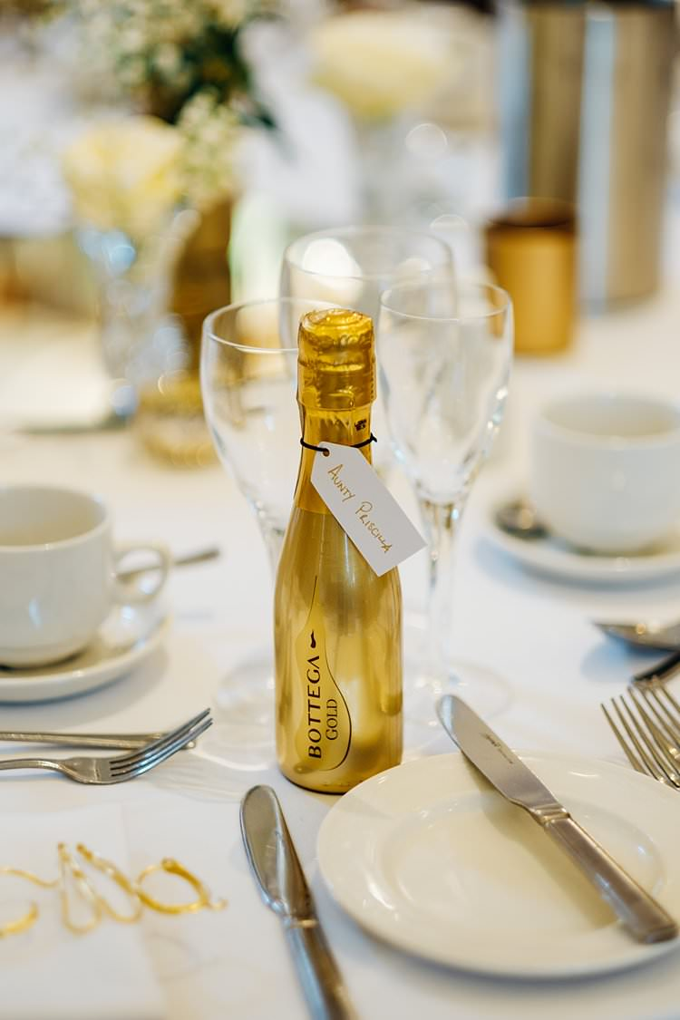 Booze Bottle Gold Favour Stylish Country House Rave Wedding http://www.mariannechua.com/