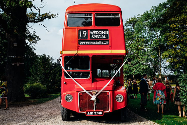 Red Double Decker Bus Stylish Country House Rave Wedding http://www.mariannechua.com/