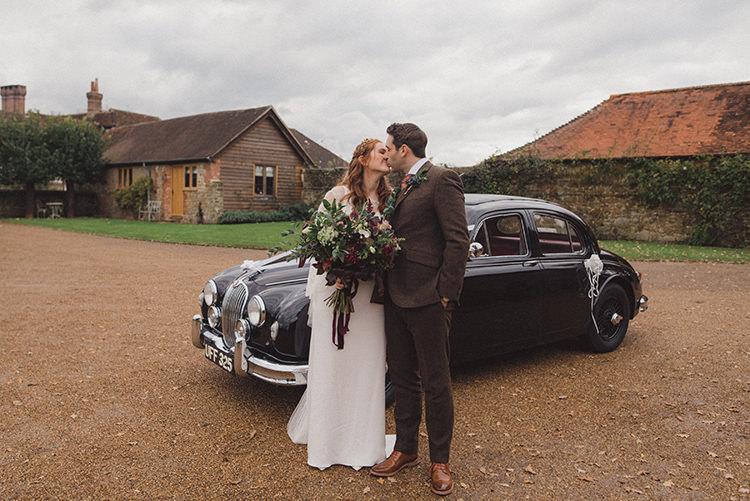 Classic Car Transport Joyful Warm Cosy Autumn Barn Wedding http://www.rebeccadouglas.co.uk/