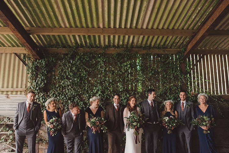 Navy Blue Bridesmaid Dresses Flower Crowns Joyful Warm Cosy Autumn Barn Wedding http://www.rebeccadouglas.co.uk/