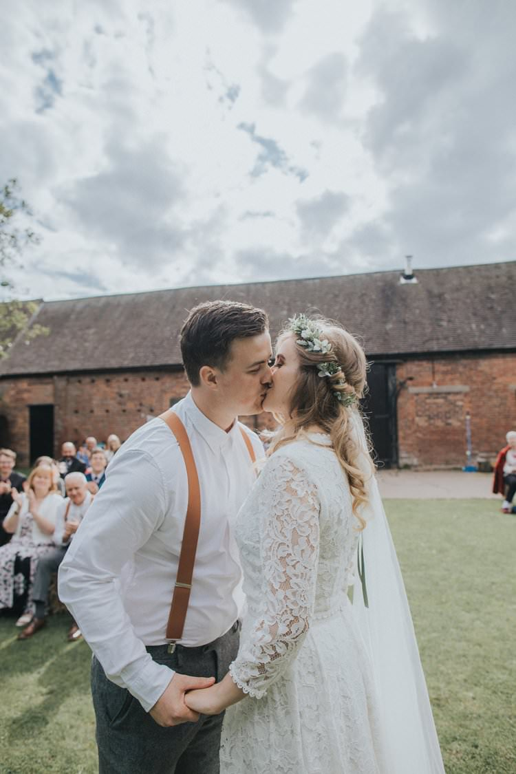 First Kiss Just Married Ceremony Whimsical Green Copper Rustic DIY Wedding http://www.brookrosephotography.co.uk/
