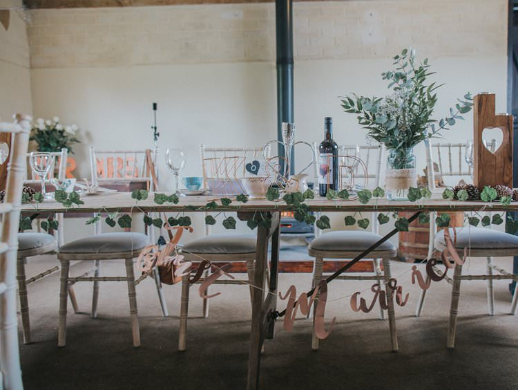 Top Table Decor Banner Foliage Whimsical Green Copper Rustic DIY Wedding http://www.brookrosephotography.co.uk/
