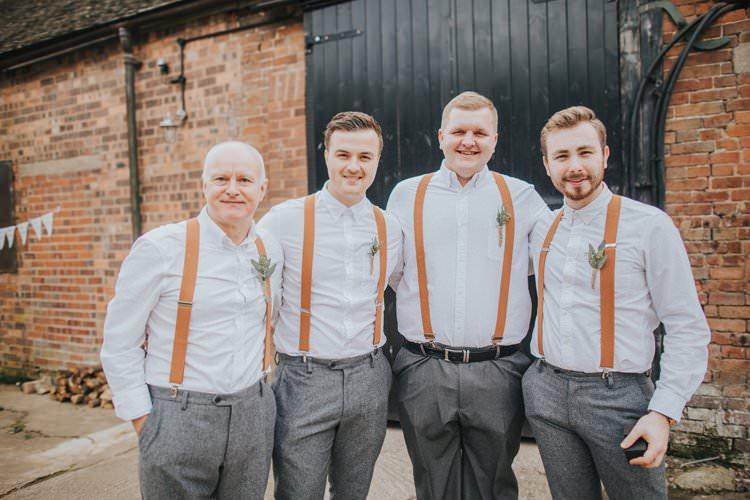 Groom Groomsmen Braces Tweed Grey Trousers Shirt Whimsical Green Copper Rustic DIY Wedding http://www.brookrosephotography.co.uk/